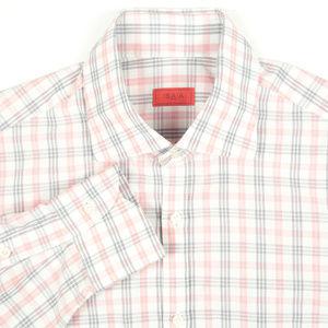 Isaia Napoli White Red Plaid Dress Shirt Size 15.5